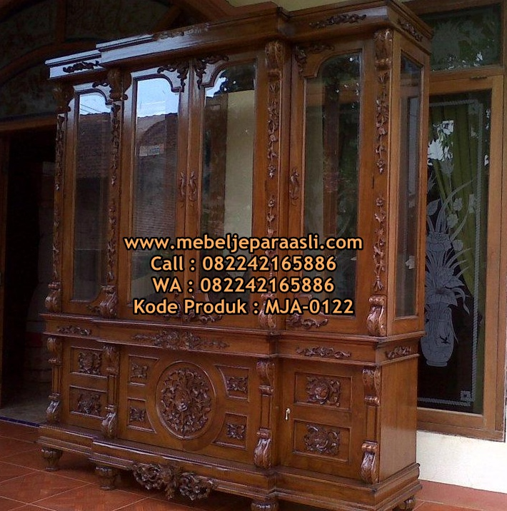 Lemari Pajangan Ukir Nusantara-MJA-0122-Mebel-Jepara-Asli