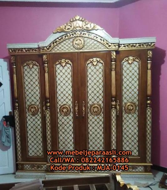 Lemari pakaian Ukiran Stupa Jepara-MJA-0145-Mebel Jepara Asli