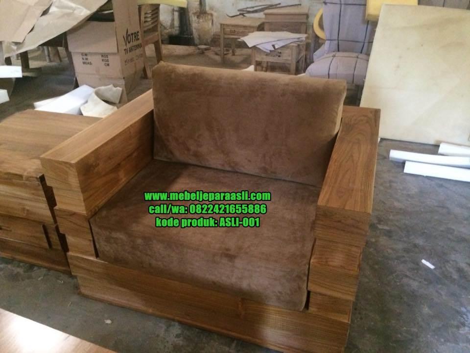 kursi dudukan satu Kursi Tamu Box Minimalis Jati Jepara