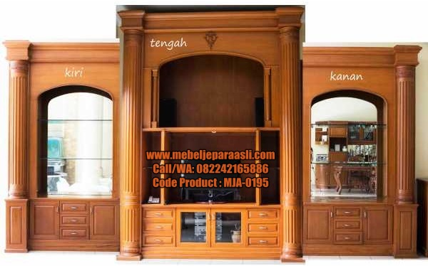 Set Lemari Display TV Mewah-MJA-0195-Mebel Jepara Asli