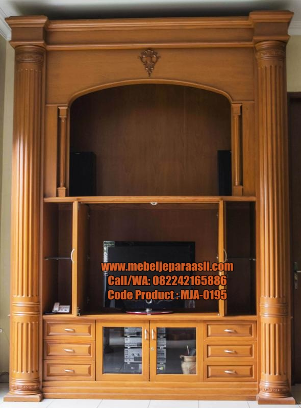 Set Lemari Display TV Mewah-Mebel Jepara Asli-0195