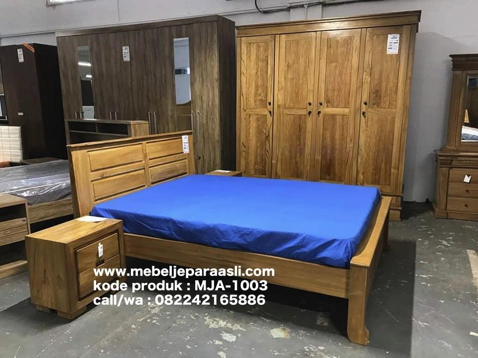 jual set kamar tidur minimalis kayu jati